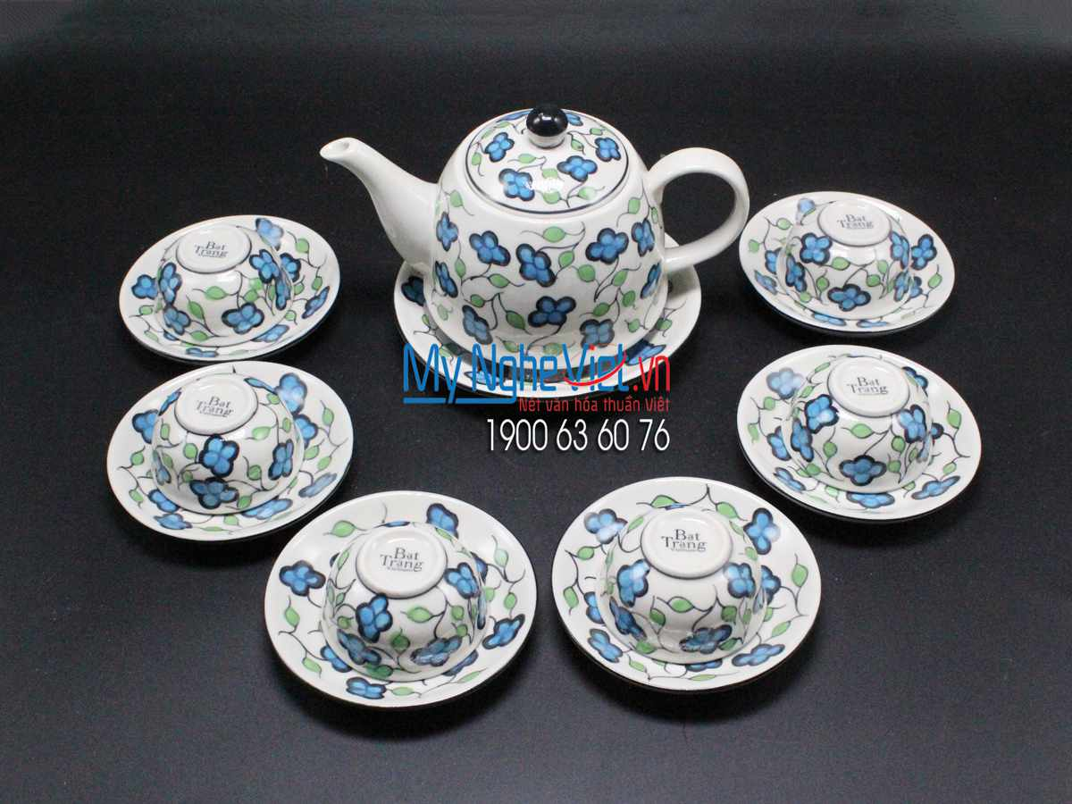 Ceramic tea set lucky grass painting MNV-TS542