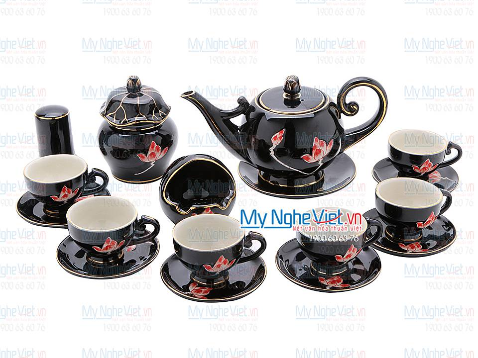 Combo tea set lotus paint MNV-CBBT02