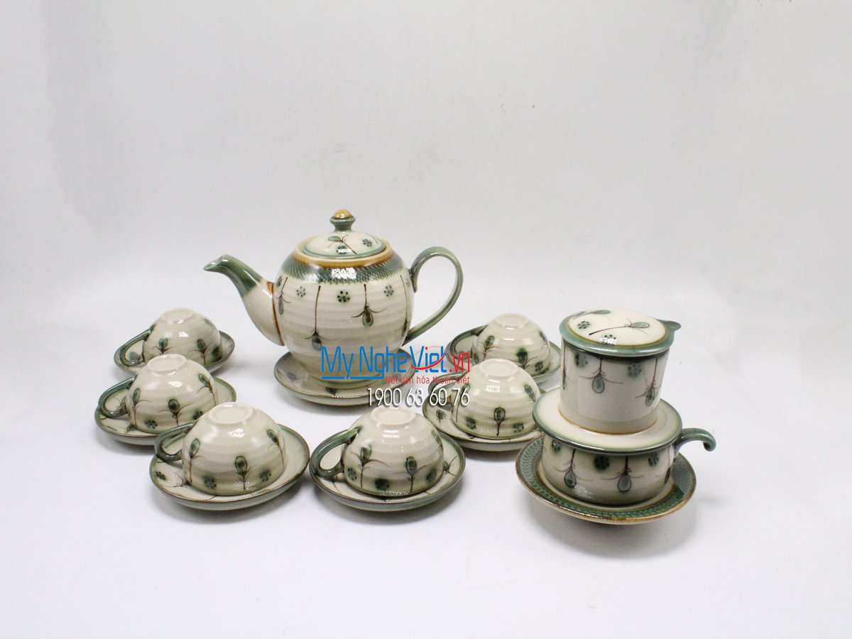 Combo tea set + offee filter (dripper) with flowers painting MNV-PK512-1