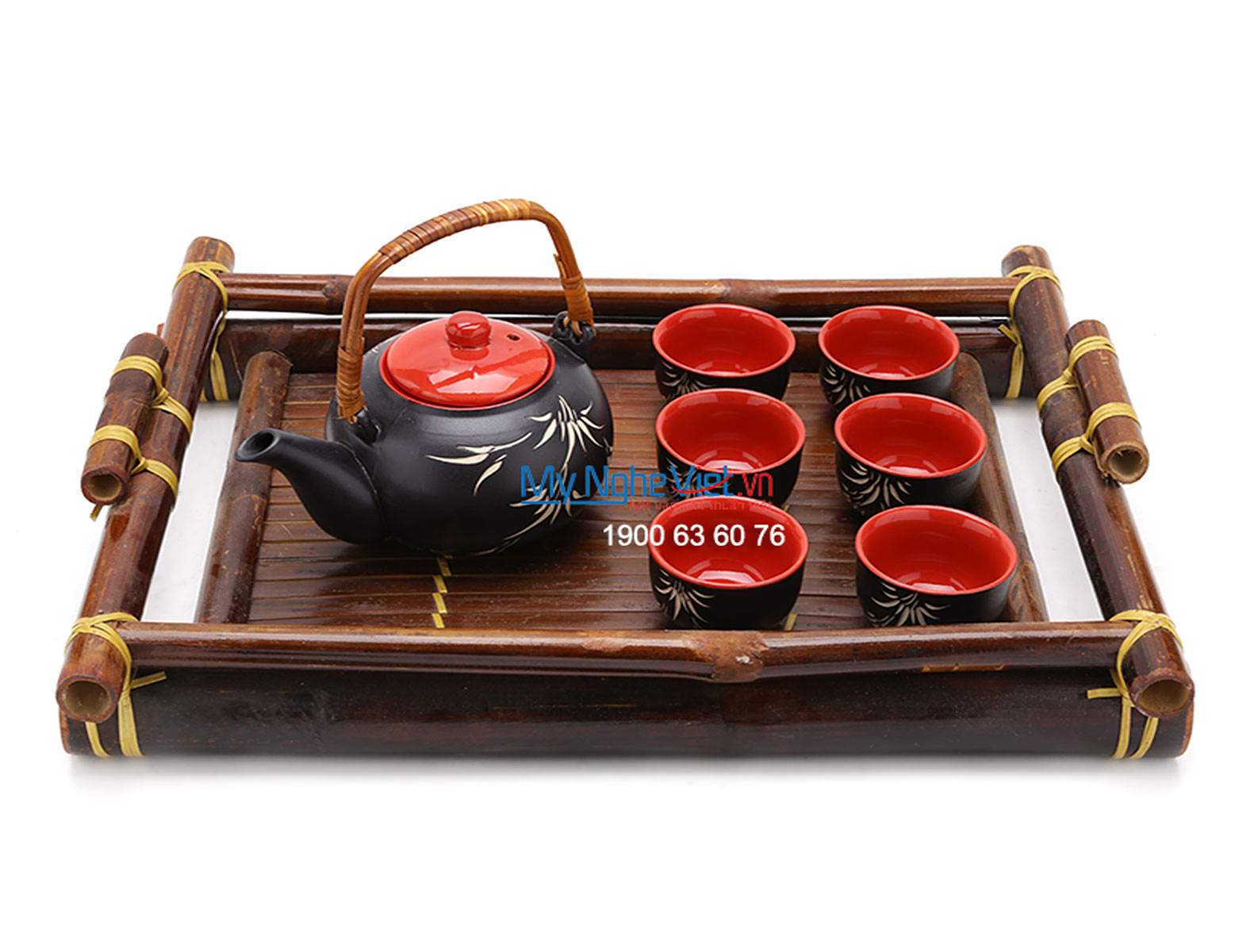 Ceramic tea set bamboo paint MNV-TS062
